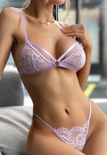 Summer Purple Lace Sexy Bra and Panty Lingerie Set