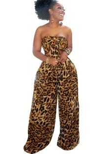 Summer Leopard Bandeau Top and Wid Leg Pants Set