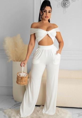 Yaz Beyaz Bandeau Üst ve Geniş Paça Pantolon Takım