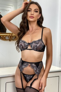 Summer Black Lace Sexy Galter Lingerie Set