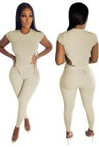 Conjunto de pantalón y top corto ajustado acanalado de verano caqui
