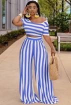 Conjunto de pantalón de pierna ancha y top corto de rayas azules de verano