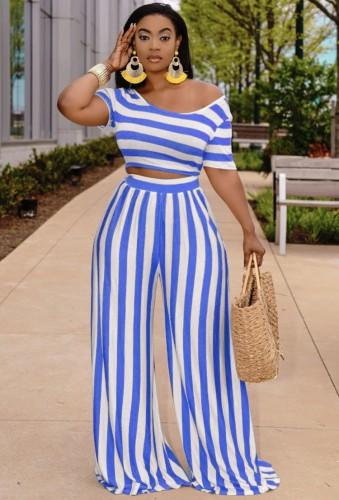 Yaz Mavi Çizgili Crop Top ve Geniş Paça Pantolon Takım