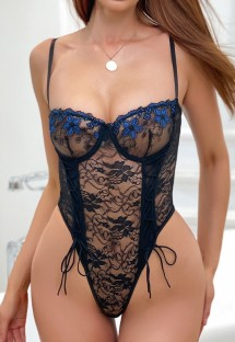 Summer Black and Blue Lace Sexy Strap Bodysuit Lingerie