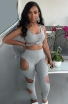 Set di pantaloni e top corto con cut-out sexy grigio estivo