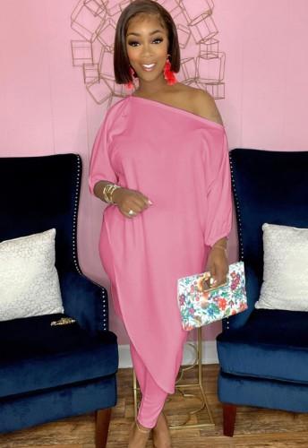 Autumn Pink Irregular Long Shirt and Tight Pants Set