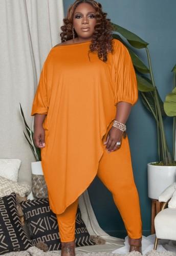 Autumn Plus Size Orange Irregular Long Shirt and Tight Pants Set