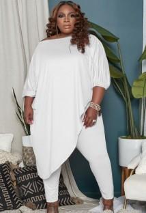 Осенний комплект белой нестандартной длинной рубашки больших размеров и узких брюк большого размера