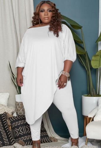 Autumn Plus Size White Irregular Long Shirt and Tight Pants Set