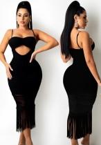 Yazlık Siyah Seksi Püskül Askılı Uzun Parti Elbise