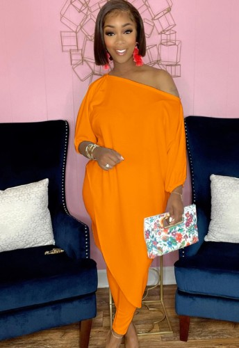 Autumn Orange Irregular Long Shirt and Tight Pants Set