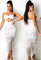 Yaz Beyaz Seksi Püskül Askılı Uzun Parti Elbise
