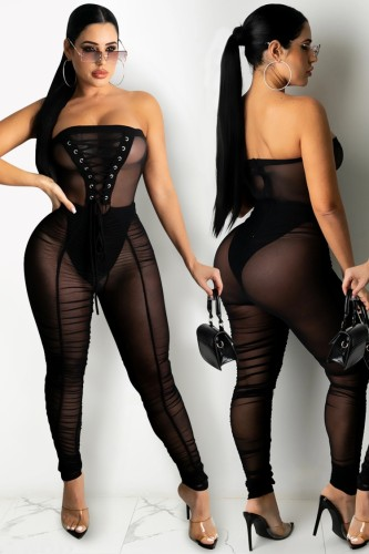 Summer Black Sexy Lace-Up Strapless Mesh Jumpsuit