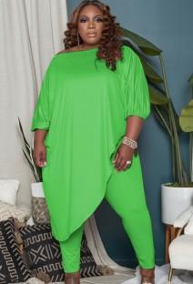 Осенний комплект зеленой нерегулярной длинной рубашки больших размеров и узких брюк большого размера