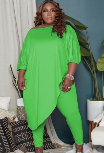 Autumn Plus Size Green Irregular Long Shirt and Tight Pants Set