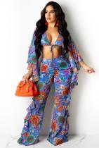 Conjunto de pantalón y top corto con volantes florales de verano