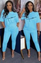 Sommer Casual Print Blaues Hemd und passende Hose Set