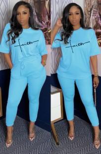 Yaz Günlük Desenli Mavi Gömlek ve Eşleşen Pantolon Takım