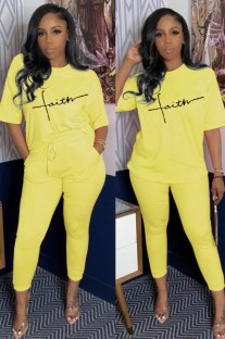 Summer Casual Print Yellow Shirt and Matching Pants Set