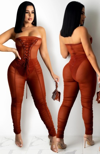 Summer Brown Sexy Lace-Up Strapless Mesh Jumpsuit