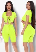 Sommer Sexy Green Strings Crop Top und Biker Shorts passendes Set