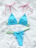 Costumi da bagno sexy in due pezzi con cinturino perizoma blu