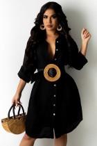 Herfst zwarte lange blouse-zonnejurk met volledige mouwen