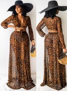 Summer Leopard Print Crop Top and Long Skirt 2 Piece Sundress Set