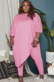 Осенний комплект розовой нестандартной длинной рубашки больших размеров и узких брюк большого размера