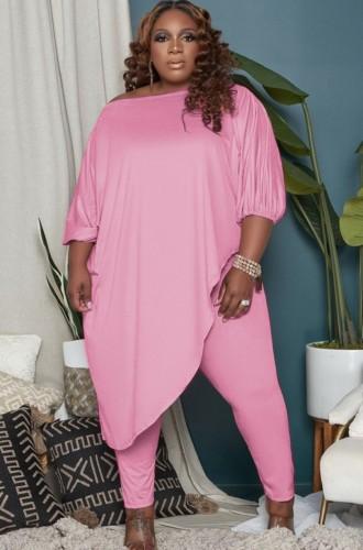 Autumn Plus Size Pink Irregular Long Shirt and Tight Pants Set