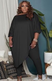 Осенний комплект из черной длинной рубашки нестандартного размера и узких брюк больших размеров