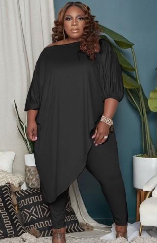 Autumn Plus Size Black Irregular Long Shirt and Tight Pants Set