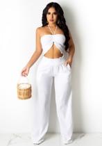 Summer White Halter Crop Top y conjunto de pantalones de cintura alta