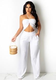 Summer White Halter Crop Top and High Waist Pants Set
