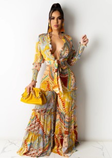 Autumn Print Knotted Crop Top and Wide Pants 2PC Set