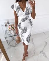 Sommer Elegantes Wickelkleid mit V-Ausschnitt, Weißes Midikleid