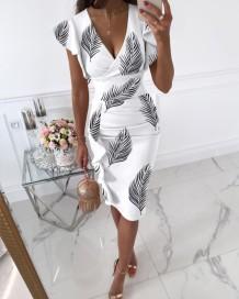Yaz Zarif Wrap V Yaka Desenli Beyaz Midi Elbise