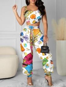 Set 2 pezzi con top corto e pantaloni a vita alta con stampa estiva Summer