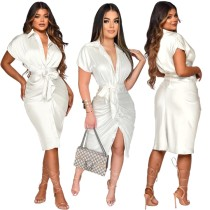Summer White Elegant Button Up Midi Dress with Belt