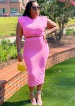Summer Plus Size Casual Pink Crop Top y Falda lápiz Conjunto de 2 piezas
