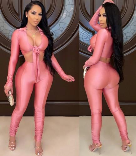 Ensemble 2 pièces de haut court et de pantalons superposés rose d'automne
