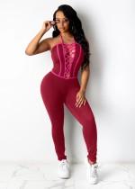 Sommer Roter Sexy Neckholder-Overall zum Schnüren