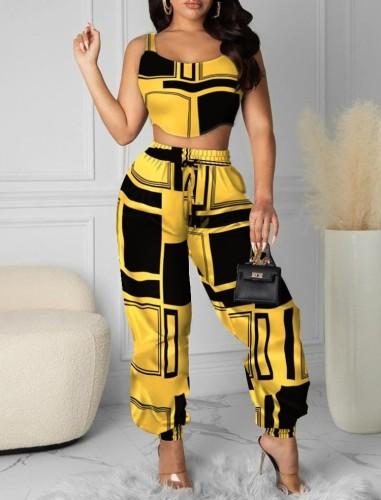 Conjunto de 2 piezas de pantalones de cintura alta y top corto con estampado de verano