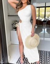 Yaz Beyaz Cut Out Seksi Tek Omuz Yarık Uzun Parti Elbise