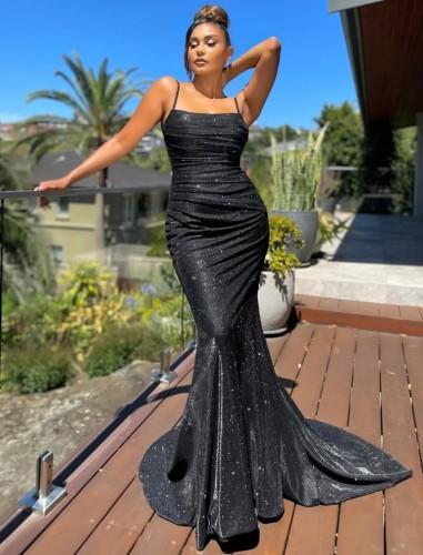 Vestido de noche de sirena con correa brillante negro formal de verano