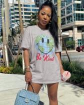 Graues Hemdkleid mit O-Ausschnitt im Sommer-Print