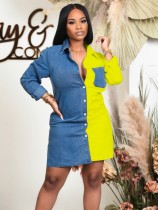 Abito blusa in denim a maniche lunghe color block casual autunnale