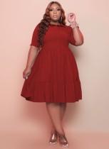 Vestido skater de manga corta rojo casual de verano de talla grande
