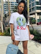 Sommer-Print weißes Hemdkleid mit O-Ausschnitt