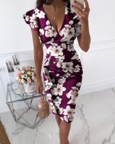 Sommer Elegantes Wickelkleid mit V-Ausschnitt Blumen Lila Midikleid
